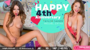 Happy 4th Anniversary VirtualRealPorn Taylor Sands vr porn video vrporn.com virtual reality