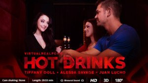 Hot Drinks - Threesome With 2 Hotties In The Bar VirtualRealPorn Tiffany Doll Alessa Savage VR porn video vrporn.com